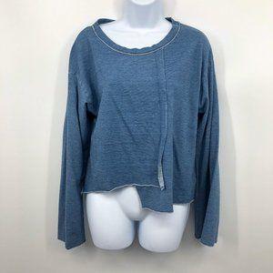 Cloth & Stone Blue Long Slv Asymmetrical Hem Top